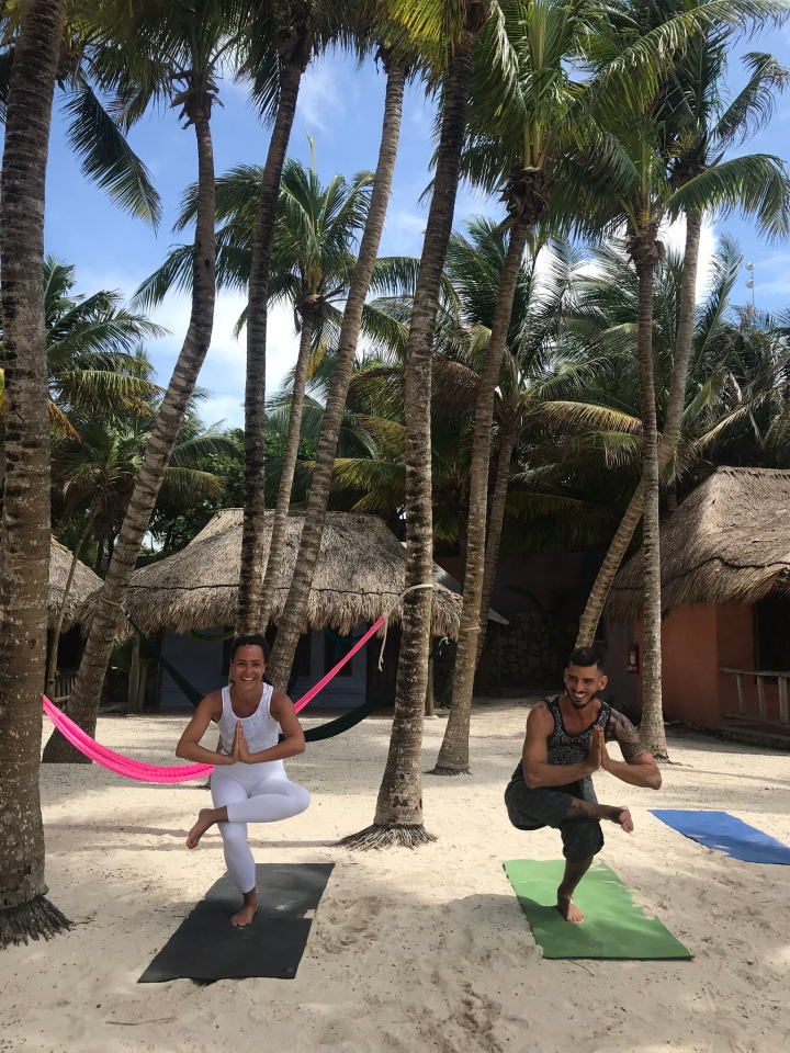 {Morning yoga session with Ricardo at Zamas Hotel in Tulum}