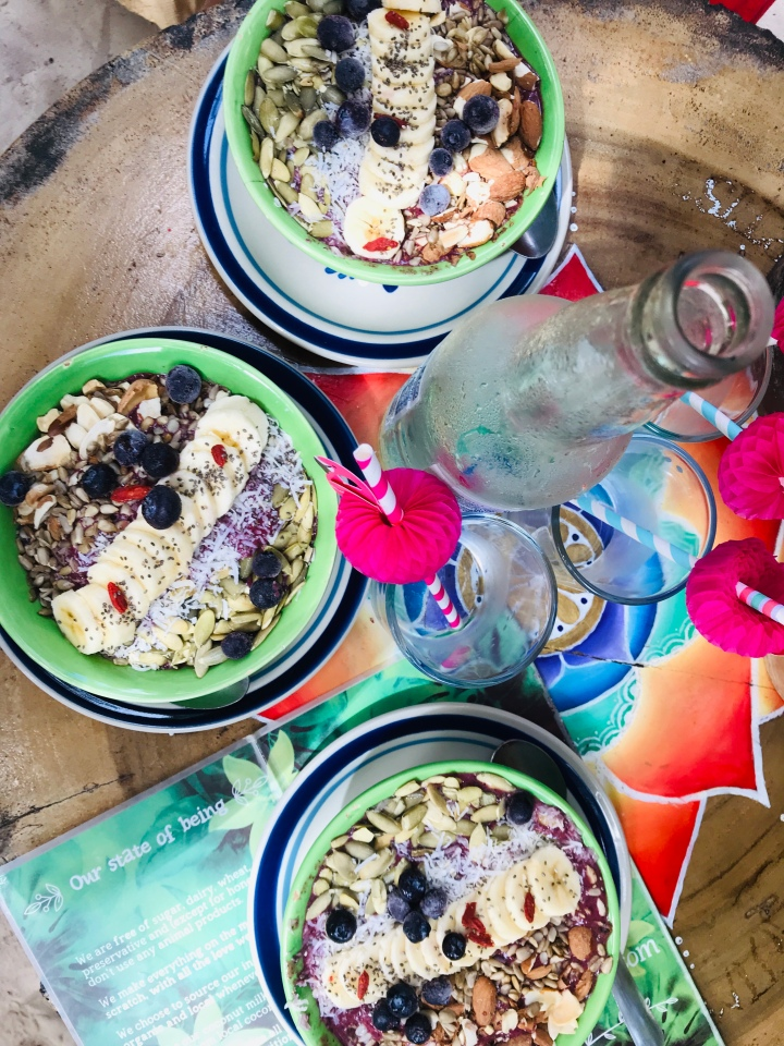 {Delicious acai bowls from Raw Love Cafe in Tulum}